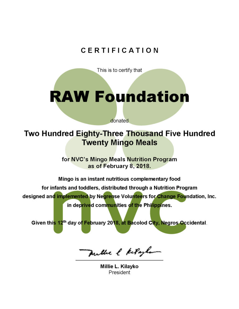 RAW Certificate of Donation NVC