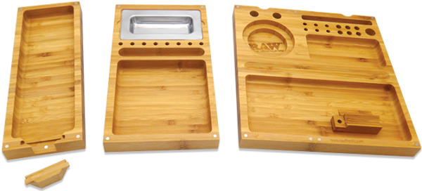 RAW Triple Flip Bamboo Rolling Tray Detached